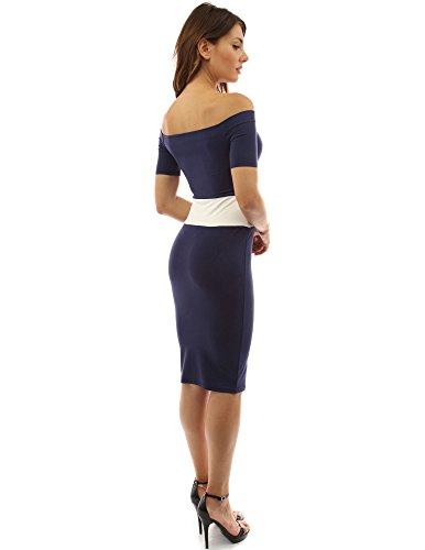 PattyBoutik Donne abito a manica corta dalla spalla color block blu scuro e avorio