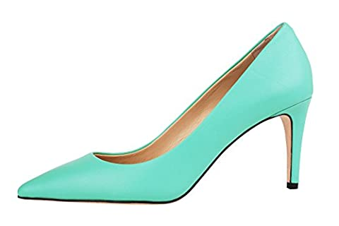 Verocara Women's Genuine Leather High heel Shoes Elegant Beauty Sexy Pointed Toe Pumps Green Leather 4