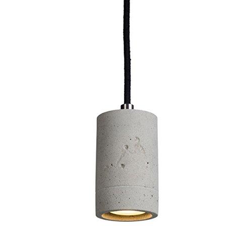 LED Beton Hängeleuchte natur inklusive OSRAM GU10 Leuchtmittel warmweiß 4,3W - Betonlampe für Esszimmer, Büro & Wohnzimmer