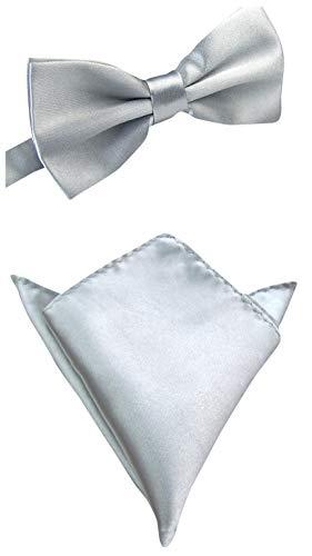 thematys Herren Fliege + Einstecktuch gebunden und verstellbar - Stylishe Fliegen in 12 verschiedenen Farben für besondere Anlässe - Einheitsgröße (Silber) (Bow Silber Und Schwarz Tie)