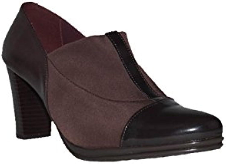 CHAMBY - Tacón Charol Licra-Marrón CH.3100 Zapatos Tacón Alto para Mujer en Piel Confort Casuales -