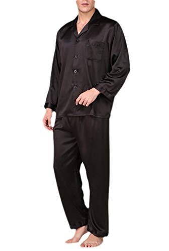 CuteRose Men's Charmeuse Plus Size Long Sleeve Solid Color Casual Pjs Set 3 XL Charmeuse-print-shorts