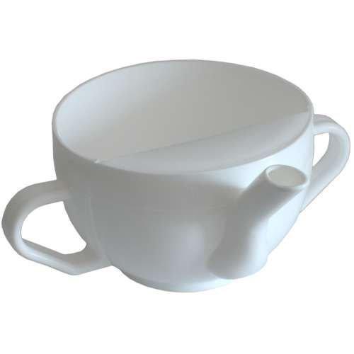 Schnabeltasse Krankentasse Schnabelbecher mit zwei Henkeln, Farbe: weiß *Top-Qualität zum Top-Preis* by CareLiv