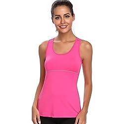 Joyshaper Camiseta de Deportes para Mujer Top de Tirantes Chaleco Ajustado de Compresión de Secado Rápido Sudadera Ropa Deportiva sin Mangas (Rosa, Large)