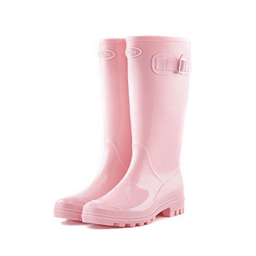 Casual Suede Shoe PVC Anti-Rutsch-Gummi mit Seitenschnalle Regen Schuhe für Frauen Mädchen wasserdichte Regen Stiefel, Herren Sneaker (Farbe : Rosa, Size : 39(25.8cm))