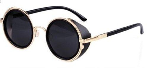 Steampunk ultra oro di occhiali da sole con lenti grigie 50s rotondi occhiali con protezione UV400 disponibile in oro argento marrone blu specchiato stampa leopardo e tè rame Cyber occhiali entusiastiche Goth Vintage