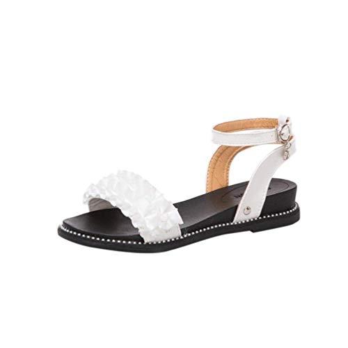 Qiusa Damen Sandalen Damen Sommer Strand Walking Flat Peep Toe Slingback Riemchen Lace up Wide Fit Go Walk Schuhe Slipper Größe 2-7 (Farbe : Weiß, Größe : 6 UK) (Weiße Kniehohe Go-go-stiefel)
