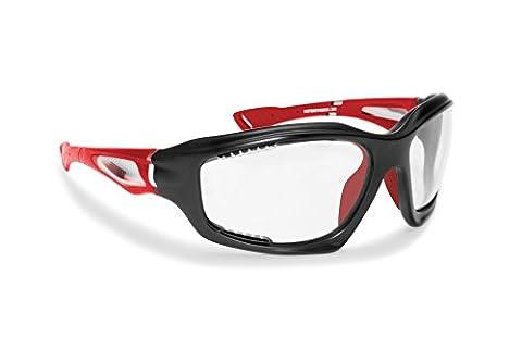 Photochrome Antibeschlag Sportbrille für Extremsport by Bertoni Italy F1000 Selbsttönend Sonnenbrille (Mat Black / Volcanic Red)