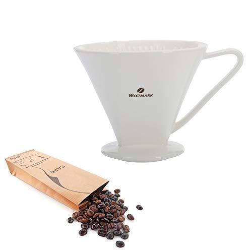 Westmark Porzellan-Kaffeefilter/Filterhalter, Für bis zu 4 Tassen Kaffee, Filtergröße 4, Porzellan, Brasilia, Weiß, 24482260 - Kaffee 4 Tasse Filter