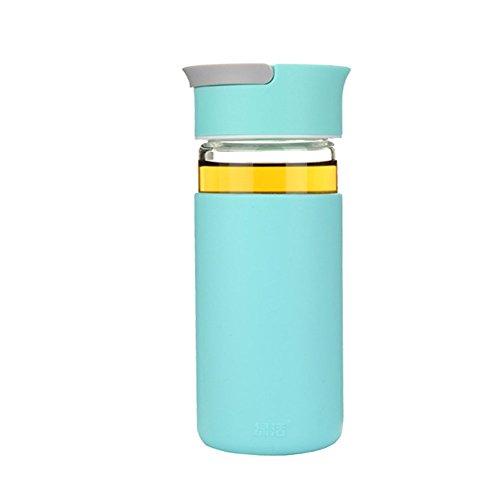 LOBZON Best-Borraccia sportiva, 13.5oz 400ml-portatile Eco Friendly & BPA-Free vetro, per corsa, palestra, yoga, all' aperto e campeggio-riutilizzabile con coperchio antigoccia, Sky