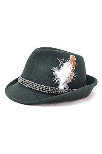 Bavariashop Traditioneller Trachten-Hut grün mit echter Hutfeder, hochwertig 100% Wollfilz Size 56