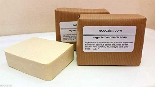 3 Bars (400g ) of Ecocalm 10% Sulphur 3% Salicylic Acid Soap/Handmade in  the UK/Acne Psoriasis Seborrhea Rosacea