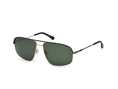 Tom Ford - JUSTIN FT 0467, Rechteckig, Metall, Herrenbrillen, BLACK GOLD/GREEN(02N F), 60/14/140