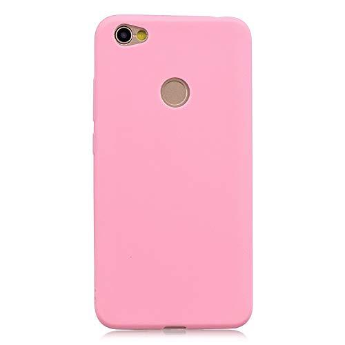 cuzz Funda para Xiaomi Redmi Note 5A+{Protector de Pantalla de Vidrio Templado} Carcasa Silicona Suave Gel Rasguño y Resistente Teléfono Móvil Cover-Rosa Oscuro