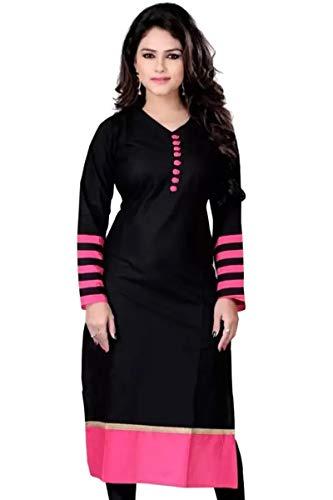 RADANYA Ethnische Lange Kurtis Womens Tunika Baumwolle Feste Schwarze Kurta Indischen Kleid