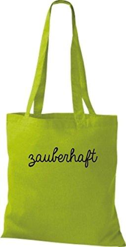 ShirtInStyle Stoffbeutel, Baumwolltasche, Shopper lustiger Typo Spruch zauberhaft limegreen