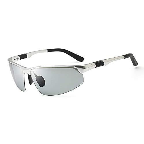 Easy Go Shopping Sport Aluminium Magnesium Ultraleichte Sonnenbrille Polarisierte Sonnenbrille mit Farbwechsel und UV-Schutz Sonnenbrillen und Flacher Spiegel (Color : Silber, Size : Kostenlos)
