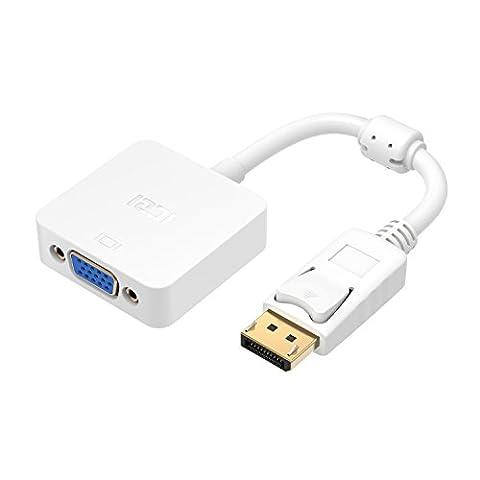 ICZI DisplayPort auf VGA Adapter mit anti-interference magnetischer ring, vergoldet Stecker, 1080P Adapter, für Anschluss zwischen Desktop, Laptop mit DisplayPort und VGA Display (Laptops Desktop-computer)