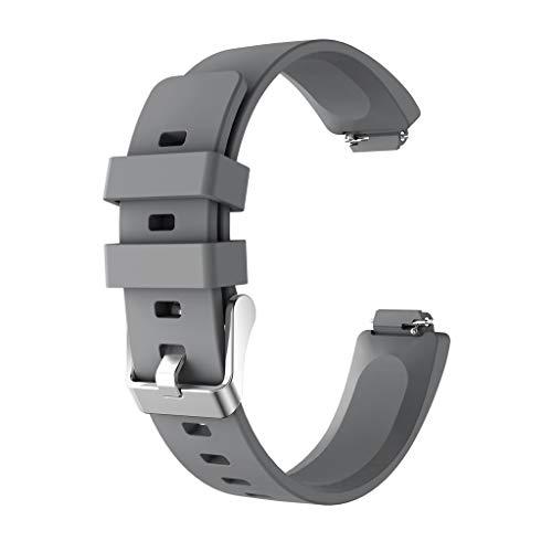 Für Fitbit Inspire/für Inspire HR Uhrenarmband, Amuse-MIUMIU Mode Sport Silikon Armband Strap Band Herren Damen Ersatzarmbänder Lederarmband für Fitbit Inspire/für Inspire HR 233mm Armbänder (Grau) -