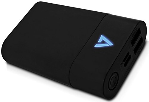 V7 PBLC10-4E Hochleistungs-USB-C Powerbank 10050 mAh (Externer Akku, 5.8A Total, Qualcomm Quick Charge 3.0, 2x USB (3.1A/2.1A), 1x USB-C (3.1A), Type C Port für Laptops (z.B. 2016 Macbook)) schwarz