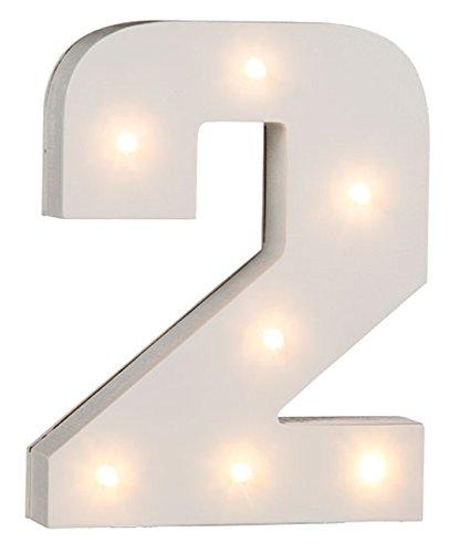 Weiß Holz beleuchtet Buchstaben und Zahlen–KOMPLETTE Alphabet–16cm, holz, Number 2, 16 cm
