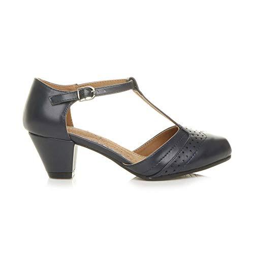 Damen Mitte Blockabsatz T-Riemen Ausgeschnitten Brogues Pumps Sandalen Größe 7 40 - 2