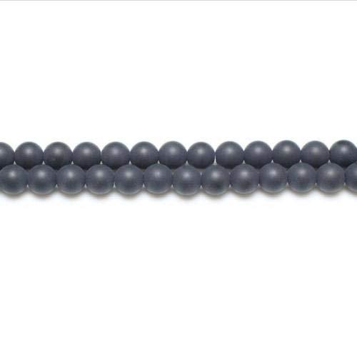 Charming Beads Strang 62+ Schwarz Onyx 6mm Gefrostet Rund Perlen GS5624-2 -