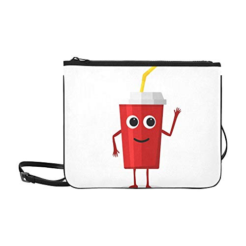 WYYWCY Nette Karikatur-Tasse Tee-Getränk-Muster-Gewohnheits-hochwertige Nylon-dünne Handtasche Umhängetasche Umhängetasche
