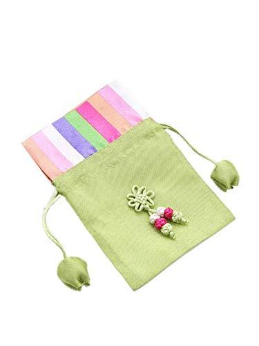 PANGUN 10Pcs Christmas Small Empty Sachet New Drawstring Gift Bag Empty Bag Color Strip Stitching Sachet Bag-Gras-Grün