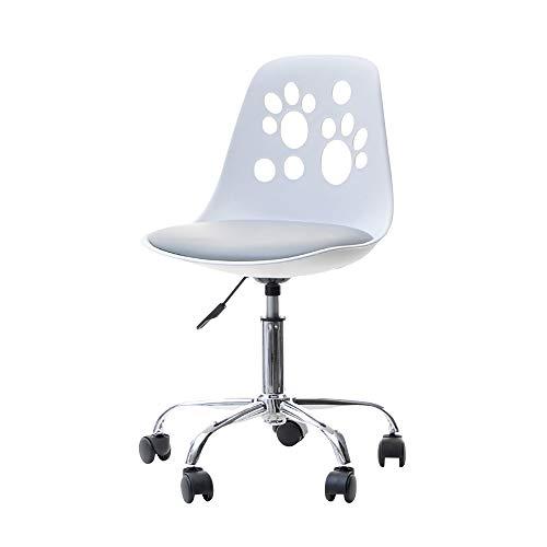 Selsey Foot - Schreibtischstuhl Kinderstuhl höhenverstellbar mit Rollen und Drehfunktion, Weiß/Grau, 40 x 39 x 84 cm