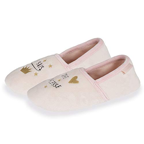 Isotoner Chaussons Slippers Femmes Broderie Princesse,Rose,39/40 EU