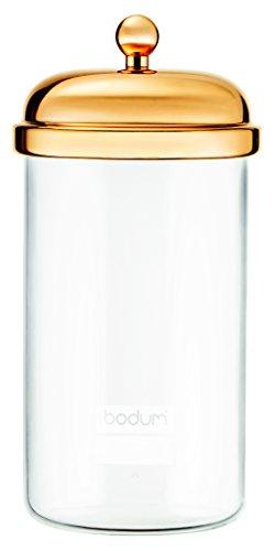 Bodum Classic Vorratsglas Mit Metalldeckel, Glas, Gold, 10.6 X 10.6 X 21.6 Cm