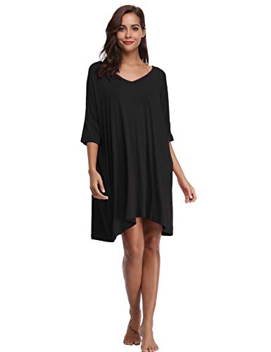 Aiboria Damen Nachthemd Nachtkleid Negligee Nachtwäsche Sommer Kurz Modal Schwangere Frauen Lockeres Kleid Frauen