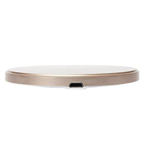 Ouneed® Ultra dünn Qi Wireless Ladegerät Lade Pad für Samsung Galaxy S7 / S7 Edge,Tischladestation, Dock für Handy (Gold) (Lade-pad Htc)