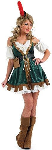 Fancy Me 5 Stück Damen Sexy Robin Hood Maid Marion Mittelalter Kostüm Outfit UK 8-26 Übergröße - Grün, 20-22 (Übergröße Maid Kostüm)