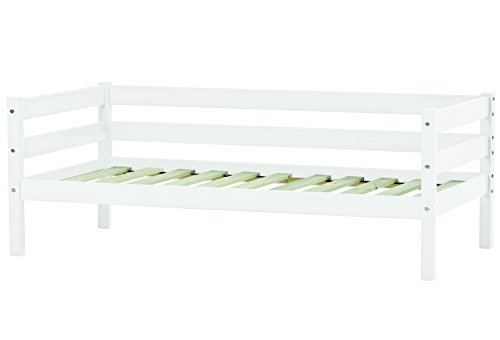 Hoppekids Marie Bett 30-0006-32-07M Junior-/Kinder-/Kleinkinder-/Jugendbett, Kiefer massiv in 5 Farben Liegefläche 70 x 160 cm, Holz, weiß, 166 x 76 x 65 cm