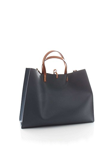 Manila Grace Borsa Felicia Bag Big W01300 Md560 Blu Navy Ecopelle Reversibile Ss 18