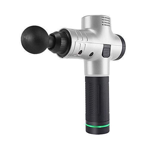 MJ-Sports Handheld Deep Tissue Muscle Massage Gun, 4 Massageköpfe Wireless Charging Deep Tissue Massager und Muscle Tragbares Massagegerät Massage Body Relaxation Tool, Silber -