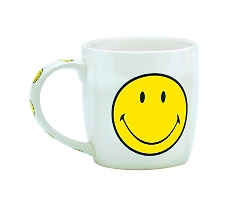 Zak Designs 6662-1595 Smiley Mug Porcelaine Blanc/Jaune 35 cl