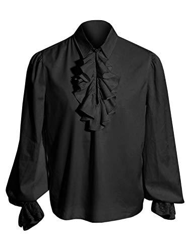 Herren Halloween Kostüme gekräuselten gotischen Steampunk viktorianischen Piraten Cosplay Shirts (Halloween-kostüme Gotische Viktorianische)