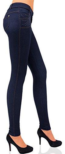 Damen Hose Treggings Skinny Stretch (Röhre weitere Muster) Nr. 284 Blau