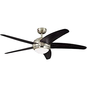 132 cm Deckenventilator Bendan 72557 mit Einzelleuchte und fünf Flügeln, Ausführung in seidenmattem Chrom mit…