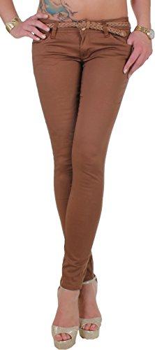 Black Denim Röhrenhose Damen mit goldfarbigen Nieten, Strassdetaisl und Gürtel