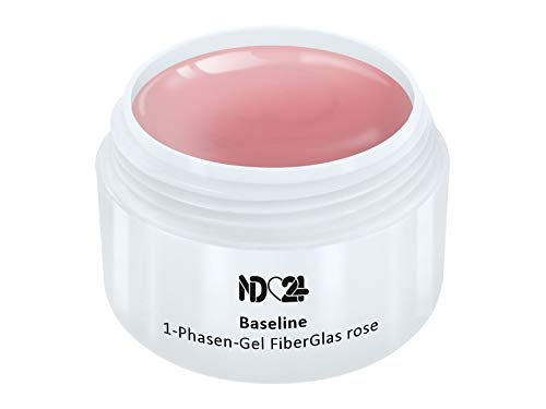 30ml - nd24 BESTSELLER - FiberGlas 1-PHASEN Allround GEL rosa mittelviskos - UV Fiber Glas Nagelgel - MADE IN GERMANY - säurearm selbstglättend (Glas Gel)