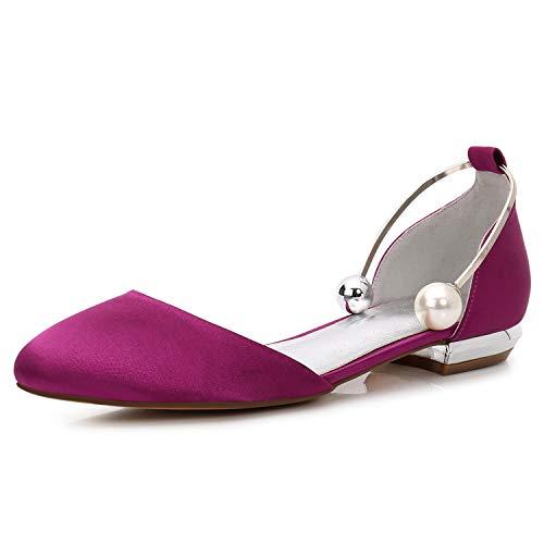 Elobaby Frauen Hochzeitsschuhe Sandalen handgefertigte geschlossene Zehe Flache Party Perle Satin Plattform / 1,5 cm Heel / FR504, Purple, 37 -