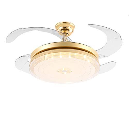Moderner Deckenventilator Mit Licht,unsichtbares Deckenventilatorlicht Crystal Fan-kronleuchter Indoor Deckenventilator-golden 42inch -