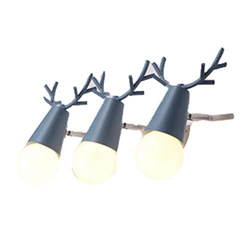 WYRX Wandleuchten LED Spiegel Lichter Scheinwerfer Moderne Minimalistische Kreative Geweih Wandleuchte Persönlichkeit Badezimmer Badezimmerspiegel Schrank Dressing Lampe BLAU - Blau-dressing