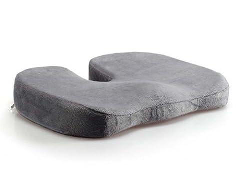 LoveHome Coccyx Sitzkissen Memory Foam für Rückenschmerzen, Tailbone Verletzung, Ischias, Hämorrhoiden, Becken Schmerzlinderung -Ideal Komfort Sitzpolster für Bürostühle, Liegesessel, Rollstuhl, Autositz (Grau)
