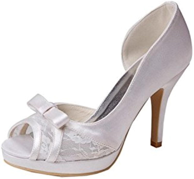 Kevin Fashion gymz636 Ladies Open Toe Stiletto zapatos de boda de novia satén tacón alto, color Beige, talla 43 EU -