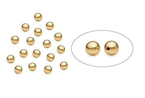 50 pcs de 14k perles lisses rondes or de 4 mm